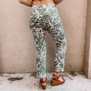 Pilcro and the Letterpress Green and Cream Pants